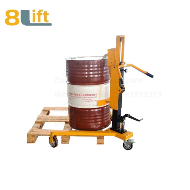 Hydraulic Right Angle Leg Foot Press Step On Cylinder Barrel Oil Drum Trolley Car with Three Wheels-1