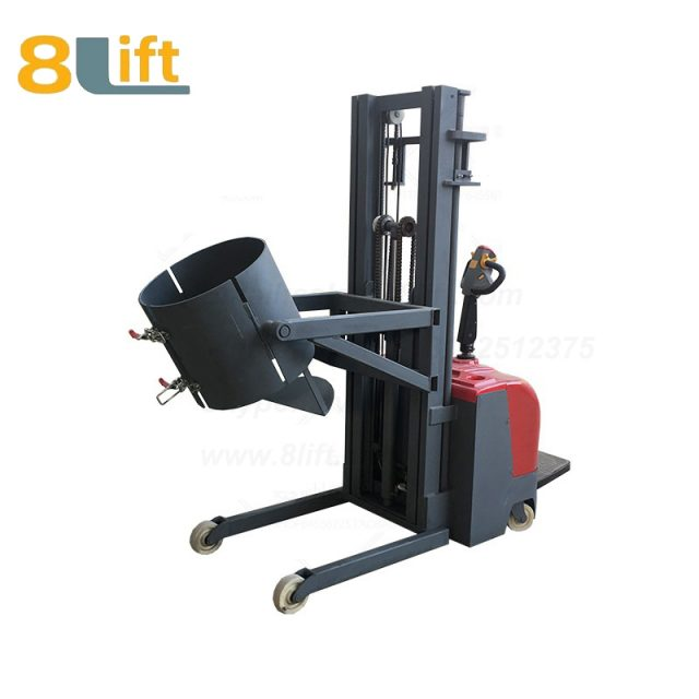 Hydraulic Standing Drive Battery Power Lift Rotate Clamp Handing Clip Hook Hoop Type Electric Automatic Tilting Flip Rotate Oil Drum Electric stacker1-1
