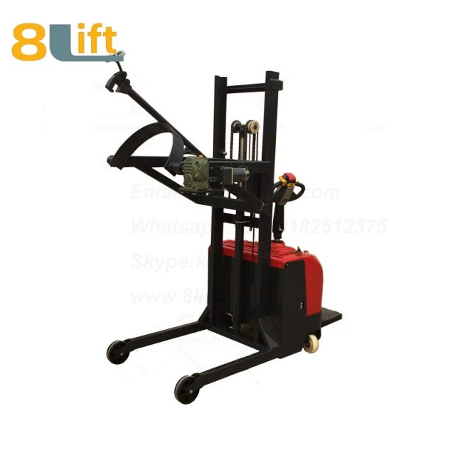 Hydraulic Standing Drive Battery Power Lift Rotate Clamp Handing Clip Hook Hoop Type Electric Automatic Tilting Flip Rotate Oil Drum Electric stacker3-1