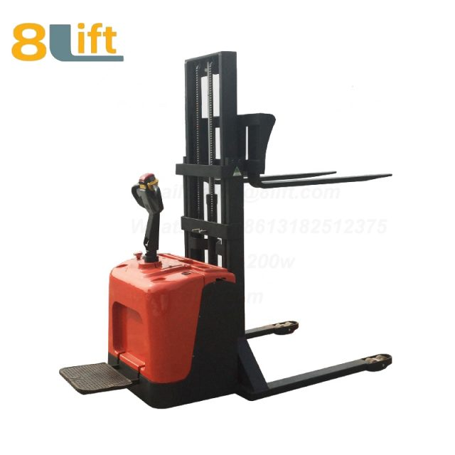 Hydraulic Straddle Leg Adjustable width fork stand standing on driving Full electric stacker-5-1