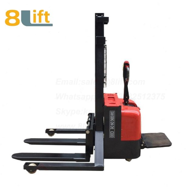 Hydraulic Straddle Leg Adjustable width fork stand standing on driving Full electric stacker-7-1