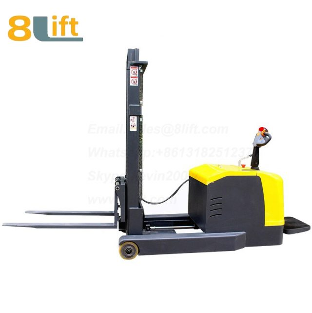 Hydraulic forward reach stand standing on driving full Electric stacker-3-1