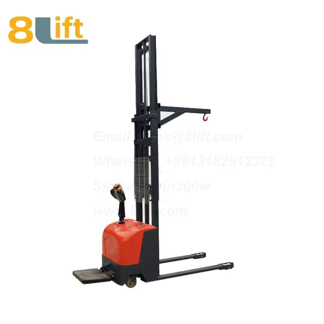 Hydraulic hoist hook stand standing on driving full electric stacker-4-1