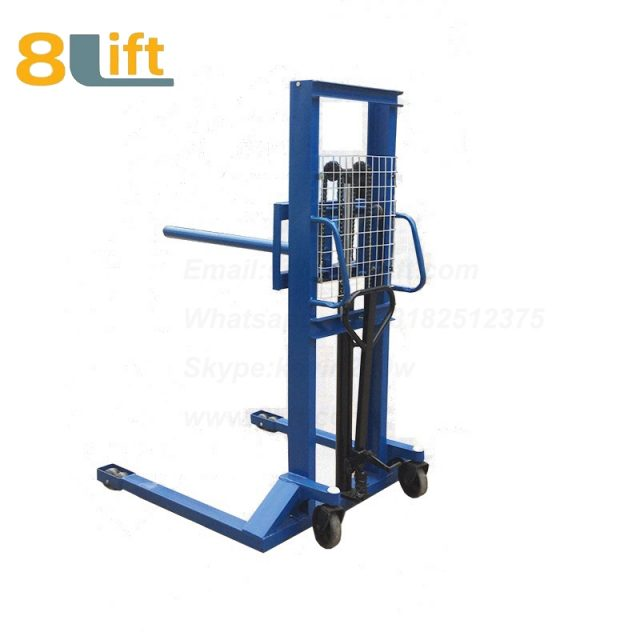Hydraulic single round bar fork reel roller coil lifter manual stacker-6-1
