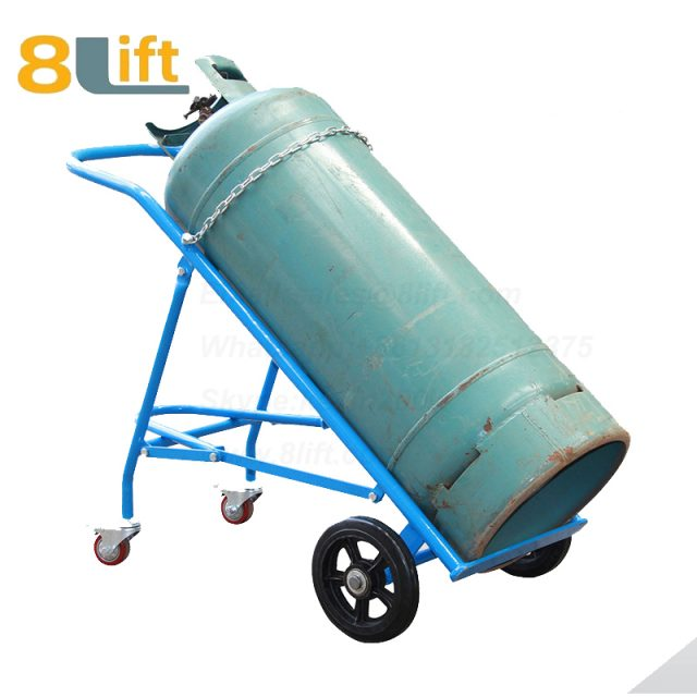 Manual Hand High load bearing Heavy Duty Solid rubber wheel Acetylene Oxygen cylinder cart trolley TY140