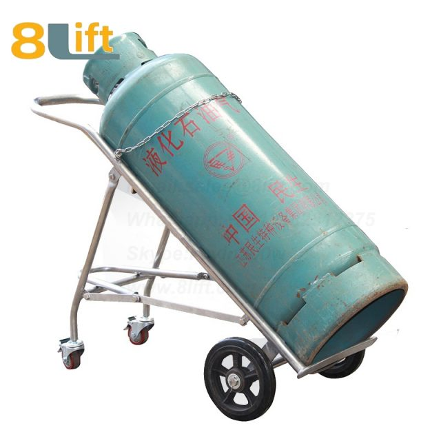 Manual Hand High load bearing Heavy Duty Stainless steel Solid rubber wheel Acetylene Oxygen cylinder cart trolley TY140A