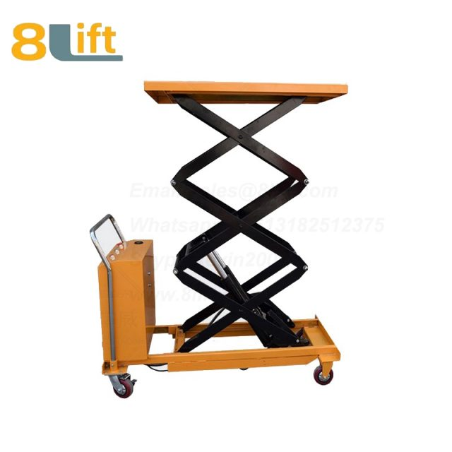 Semi electric Hydraulic scissor move mobile moveable movable platform lift table with wheel-5-1