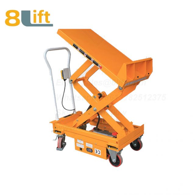 Semi electric Hydraulic scissor move mobile moveable movable tilt platform lift table with wheel-1