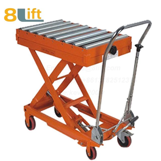 Semi electric Hydraulic scissor move mobile moveable movable with Roller platform lift table-1-1