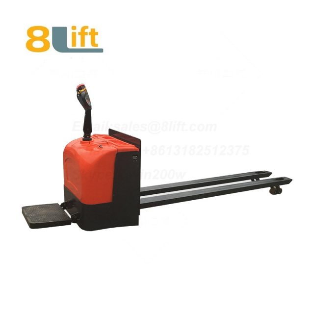 Stand Standing on Driving Drive Hydraulic Automatic move battery powered self propelled low profile narrow Leg fork pallet jack extra long fork Full All electric Pallet Truck-1-1