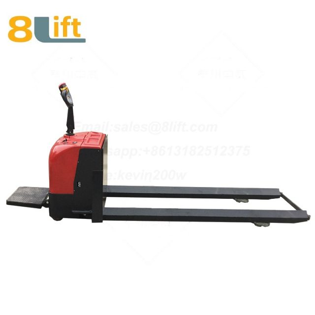 Standing on Driving Hydraulic Automatic move battery powered self propelled extra Long fork leg steel coil roll paper roll yarn roller pallet jack overlength electric Pallet Truck-5-1