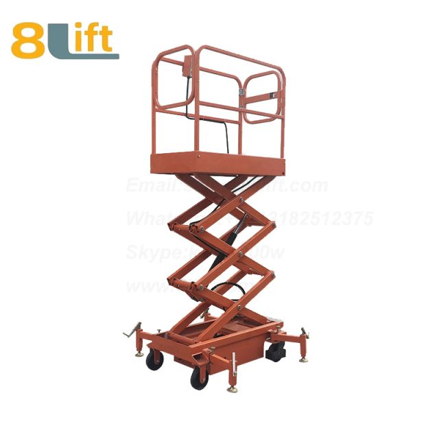 electric lift ladder aerial man work electric Hydraulic scissor mobile movable platform lift table with Fence railing-4-1